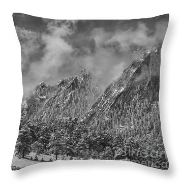 Rocky Mountain Dusting Of Snow Boulder Colorado Bw Throw Pillow by James BO  Insogna