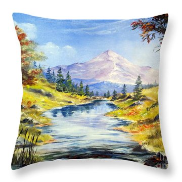 Rocky Mountain Stream Throw Pillow by Lee Piper
