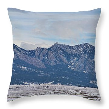 Rocky Mountains Flatirons And Longs Peak Panorama Boulder Throw Pillow by James BO  Insogna