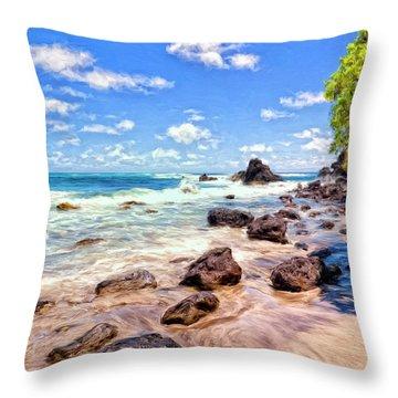 Rocky Shoreline Throw Pillow by Dominic Piperata
