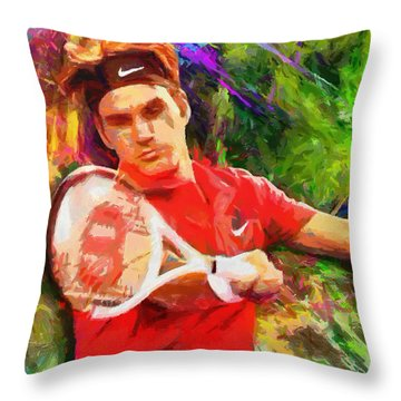 Roger Federer Throw Pillow by RochVanh