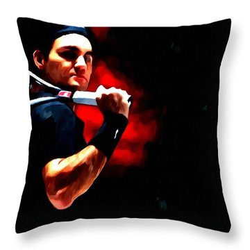 Roger Federer Tennis Throw Pillow by Lanjee Chee
