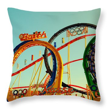 Rollercoaster At The Octoberfest In Munich Throw Pillow by Sabine Jacobs
