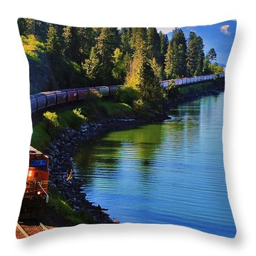 Rollin' Round The Bend Throw Pillow by Benjamin Yeager