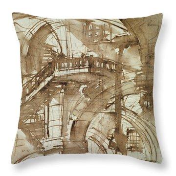 Roman Prison Throw Pillow by Giovanni Battista Piranesi