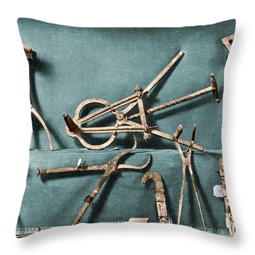 Throw Pillow featuring the photograph Roman Surgical Instruments, 1st Century by Science Source
