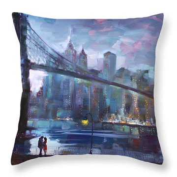Romance By East River II Throw Pillow by Ylli Haruni