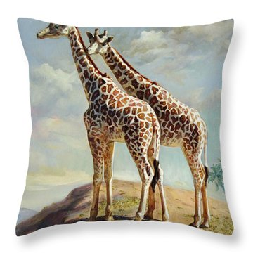 Romance In Africa - Love Among Giraffes Throw Pillow by Svitozar Nenyuk
