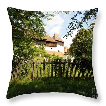 Romanian Fortified Church Throw Pillow by Ramona Matei