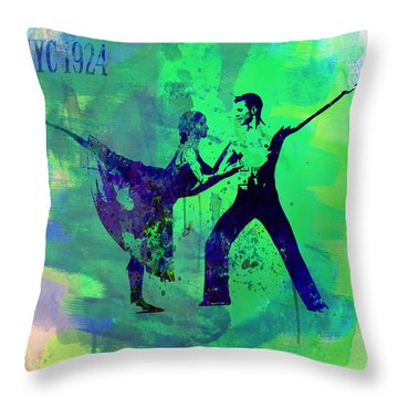 Romantic Ballet Watercolor 1 Throw Pillow by Naxart Studio