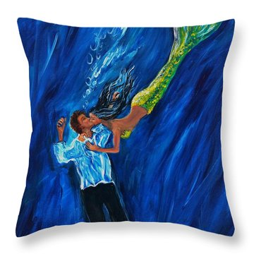 Romantic Rescue Throw Pillow by Leslie Allen