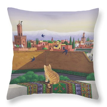 Rooftops In Marrakesh Throw Pillow by Larry Smart