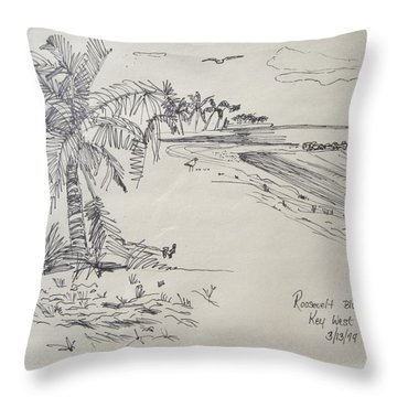Roosevelt Blvd Beach  Key West Fla Throw Pillow by Diane Pape