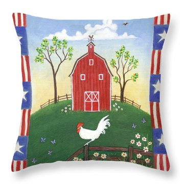 Rooster Americana Throw Pillow by Linda Mears
