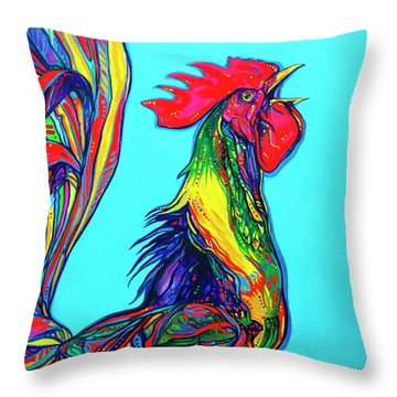Rooster Crow Throw Pillow by Derrick Higgins