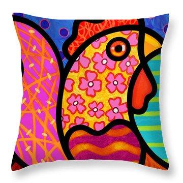 Rooster Dance Throw Pillow by Steven Scott