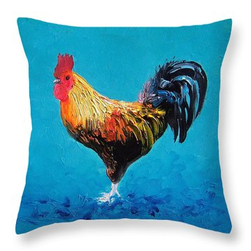 Rooster Emanuel Throw Pillow by Jan Matson