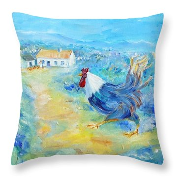 Rooster On Dingle Peninsula  Throw Pillow by Trudi Doyle
