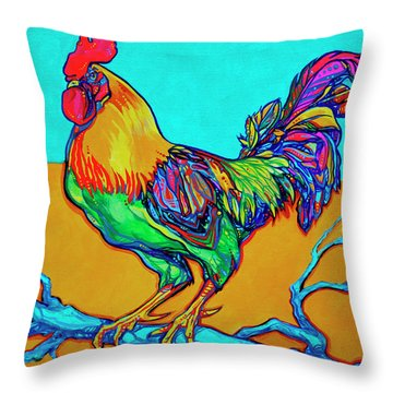 Rooster Perch Throw Pillow by Derrick Higgins