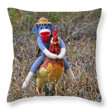 Rooster Rider Throw Pillow by Al Powell Photography USA