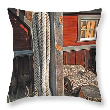 Ropes And Woods Throw Pillow by Barbara McDevitt