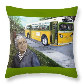 Rosa Parks Throw Pillow by Reb Frost