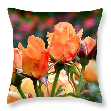 Rose Bunch Throw Pillow by Rona Black