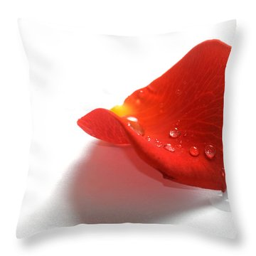 Rose Petal On White Background Throw Pillow by Michal Bednarek