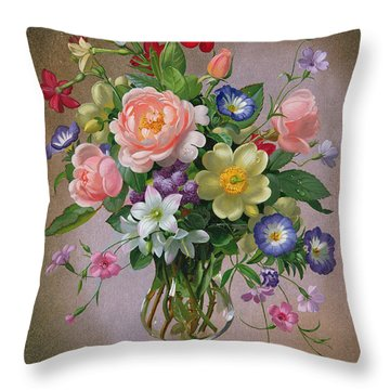 Roses Peonies And Freesias In A Glass Vase Throw Pillow by Albert Williams