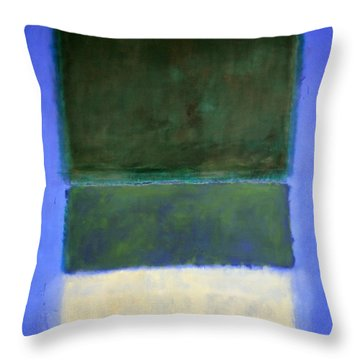 Rothko's No. 14 -- White And Greens In Blue Throw Pillow by Cora Wandel