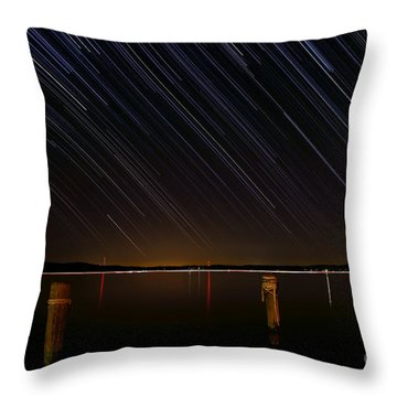 Round Bay Startrails Throw Pillow by Benjamin Reed