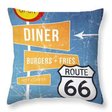 Route 66 Diner Throw Pillow by Linda Woods