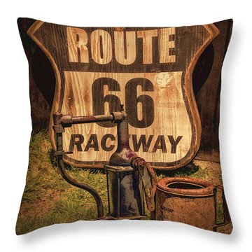 Route 66 Raceway Throw Pillow by Priscilla Burgers