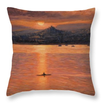 Rowing In The Sunset Throw Pillow by Marco Busoni