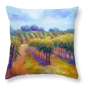 Rows Of Vines Throw Pillow by Carolyn Jarvis