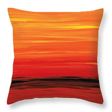 Ruby Shore - Red And Orange Abstract Throw Pillow by Sharon Cummings