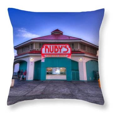Ruby's Diner On The Pier Throw Pillow by Spencer McDonald