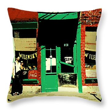Rue Fairmount Wilensky Diner Cafe Feeding The Parking Meter Montreal Street Scene Carole Spandau Throw Pillow by Carole Spandau