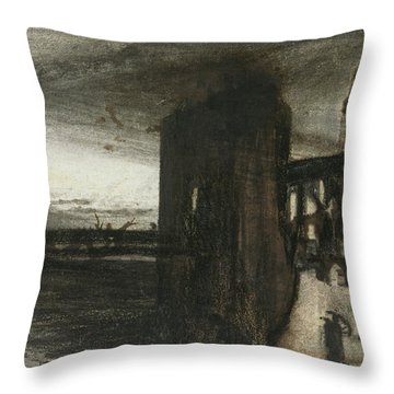 Ruins In A Landscape Throw Pillow by Victor Hugo