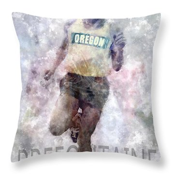 Running Legend Steve Prefontaine Throw Pillow by Daniel Hagerman
