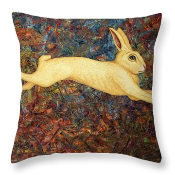 Running Rabbit Throw Pillow by James W Johnson