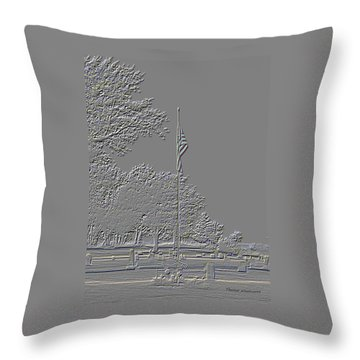 Rural Cemetery Black And White Embossed Digital Art Throw Pillow by Thomas Woolworth