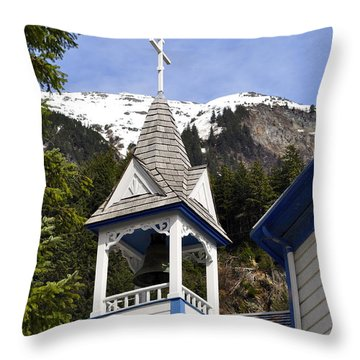 Russian Orthodox Church Bell Tower Throw Pillow by Cathy Mahnke