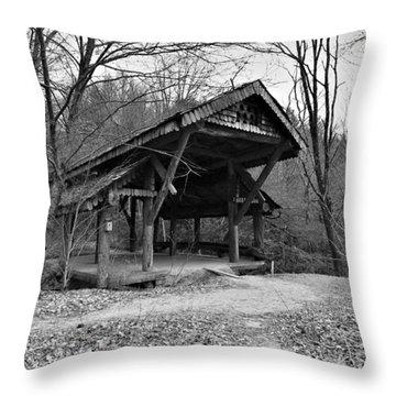 Rustic Covered Bridge Throw Pillow by Susan Leggett
