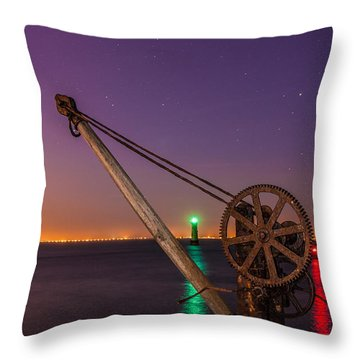 Rusty Davit And Two Lighthouses Throw Pillow by Semmick Photo