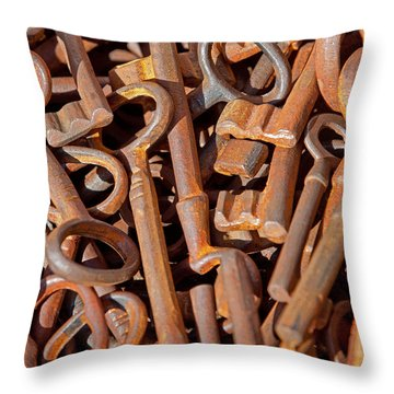 Rusty Keys Throw Pillow by Art Block Collections