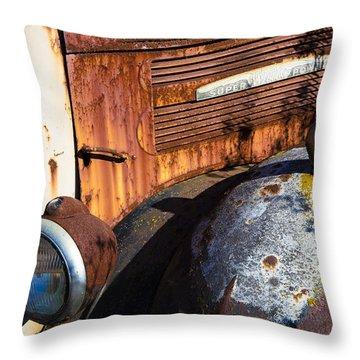 Rusty Truck Detail Throw Pillow by Garry Gay