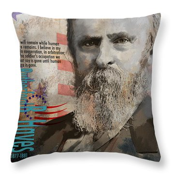 Rutherford B. Hayes Throw Pillow by Corporate Art Task Force