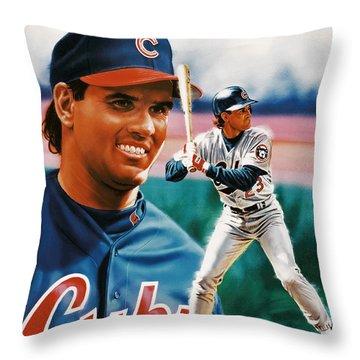 Ryne Sandberg Throw Pillow by Dick Bobnick