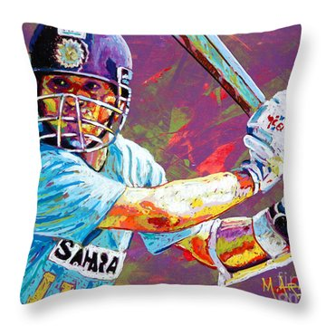 Sachin Tendulkar Throw Pillow by Maria Arango